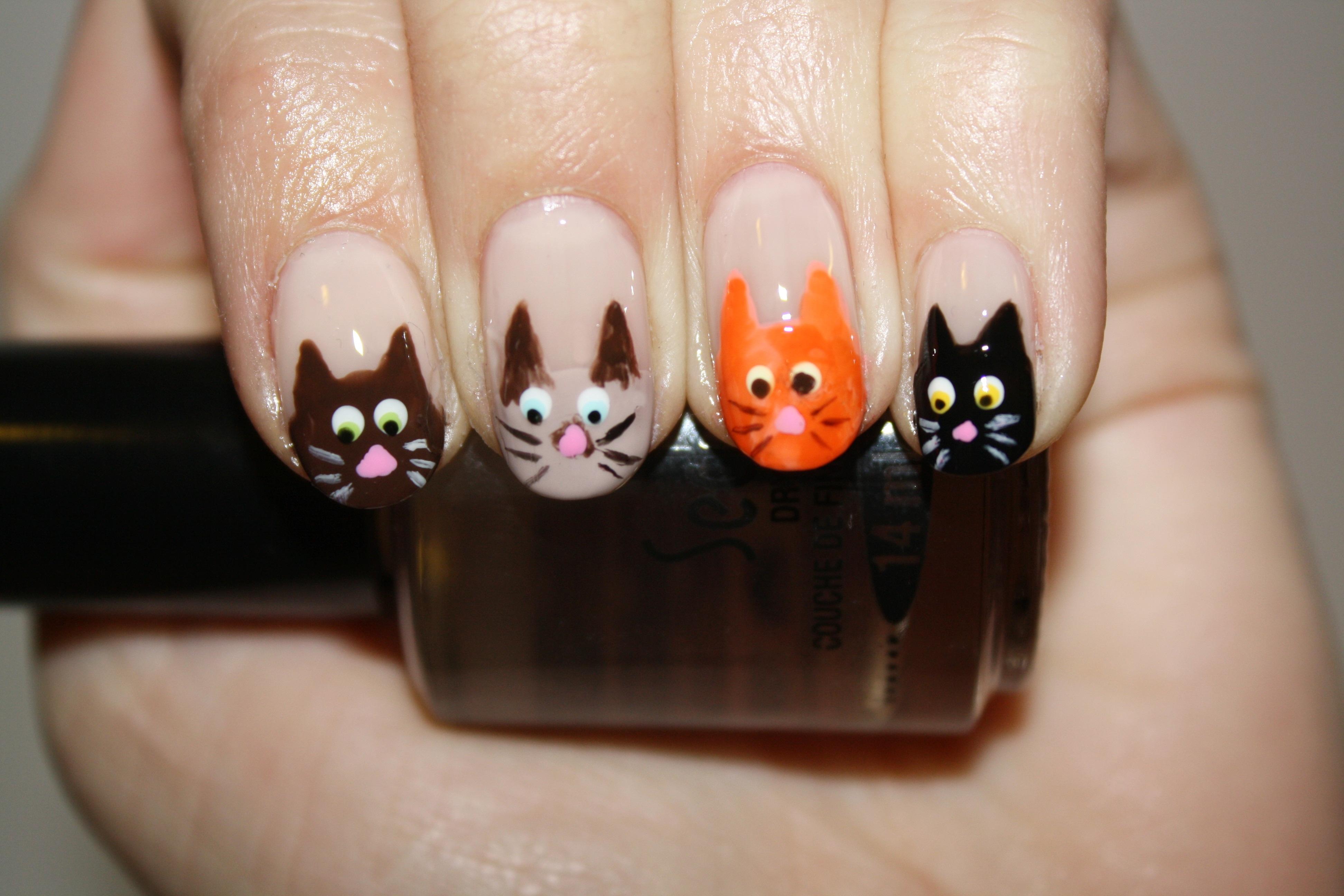 Cat Nail Polish Design