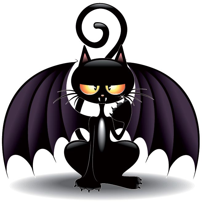 Cats with Bats Halloween Cartoons