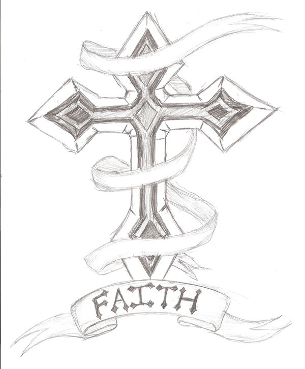Cool Cross Tattoo Design Sketch
