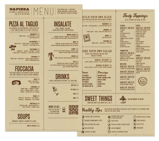 Cool Restaurant Menu Designs
