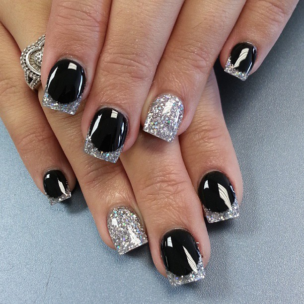 Cute Black and Silver Nail Designs
