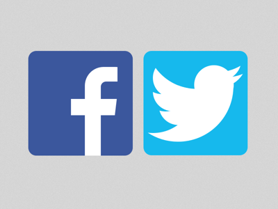 logo facebook et twitter vectoriel