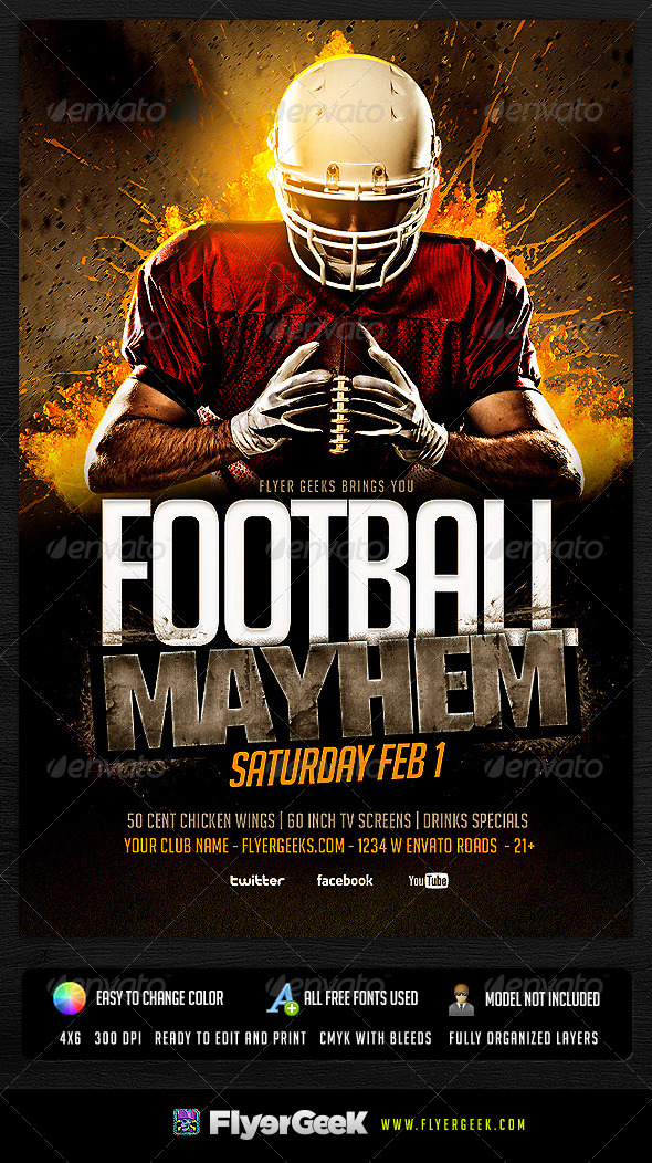 15 Free Football Flyer PSD Template Images