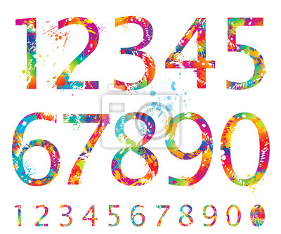 12 Colorful Number 1 Fonts Images