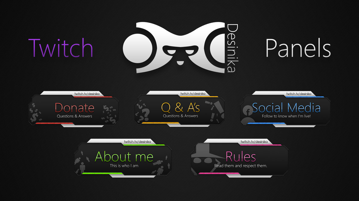 16 Twitch Panel Free PSD Images - Twitch Overlay Template