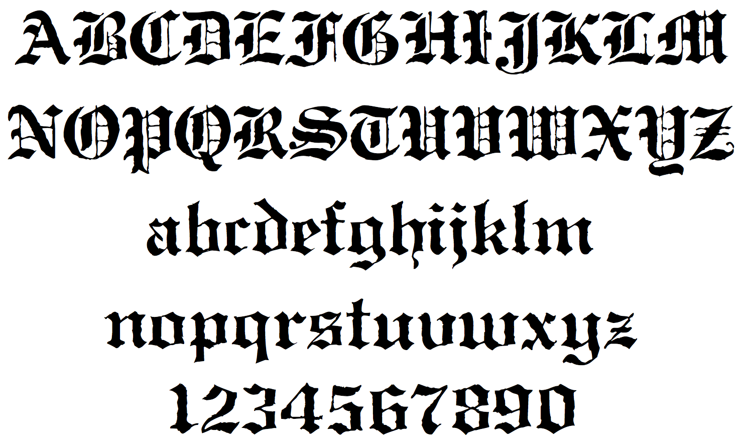 Gothic Calligraphy Font Alphabet Letters