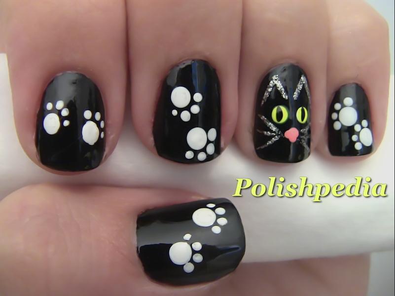 Halloween Cat Nail Art