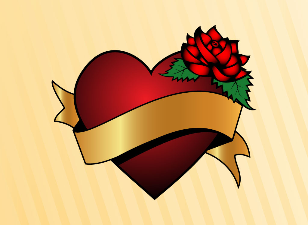Heart with Banner and Rose