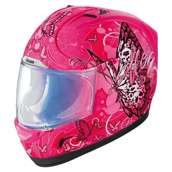 Icon Pink Motorcycle Helmet