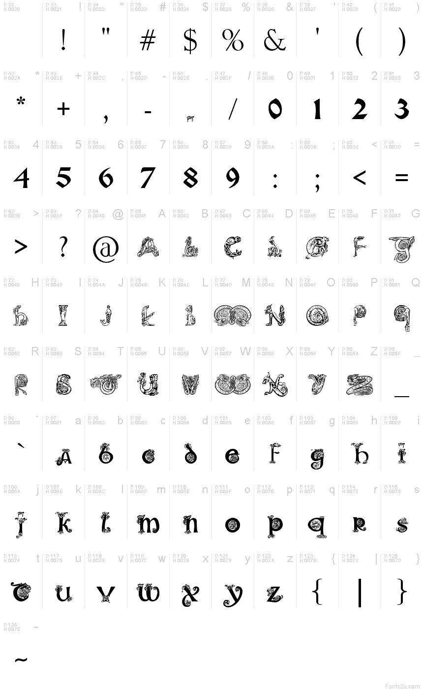 Illuminated Script Fonts Alphabet