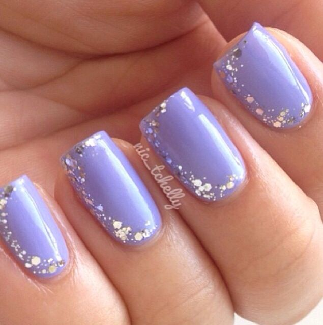 14 Light Purple Glitter Nail Designs Images