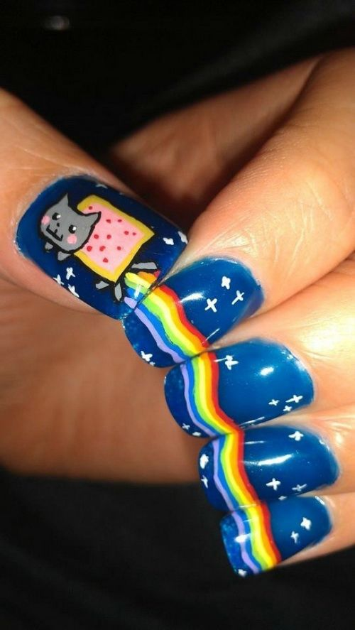 16 Short Nail Art Designs Cats Images