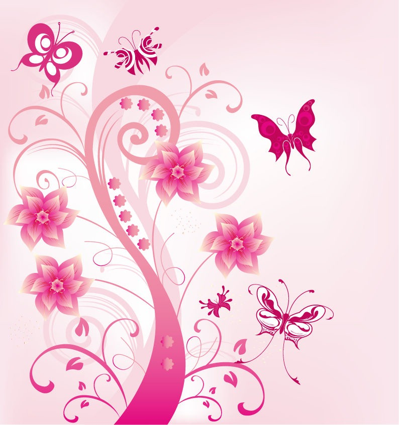 15 Pink Floral Swirls Vector Images