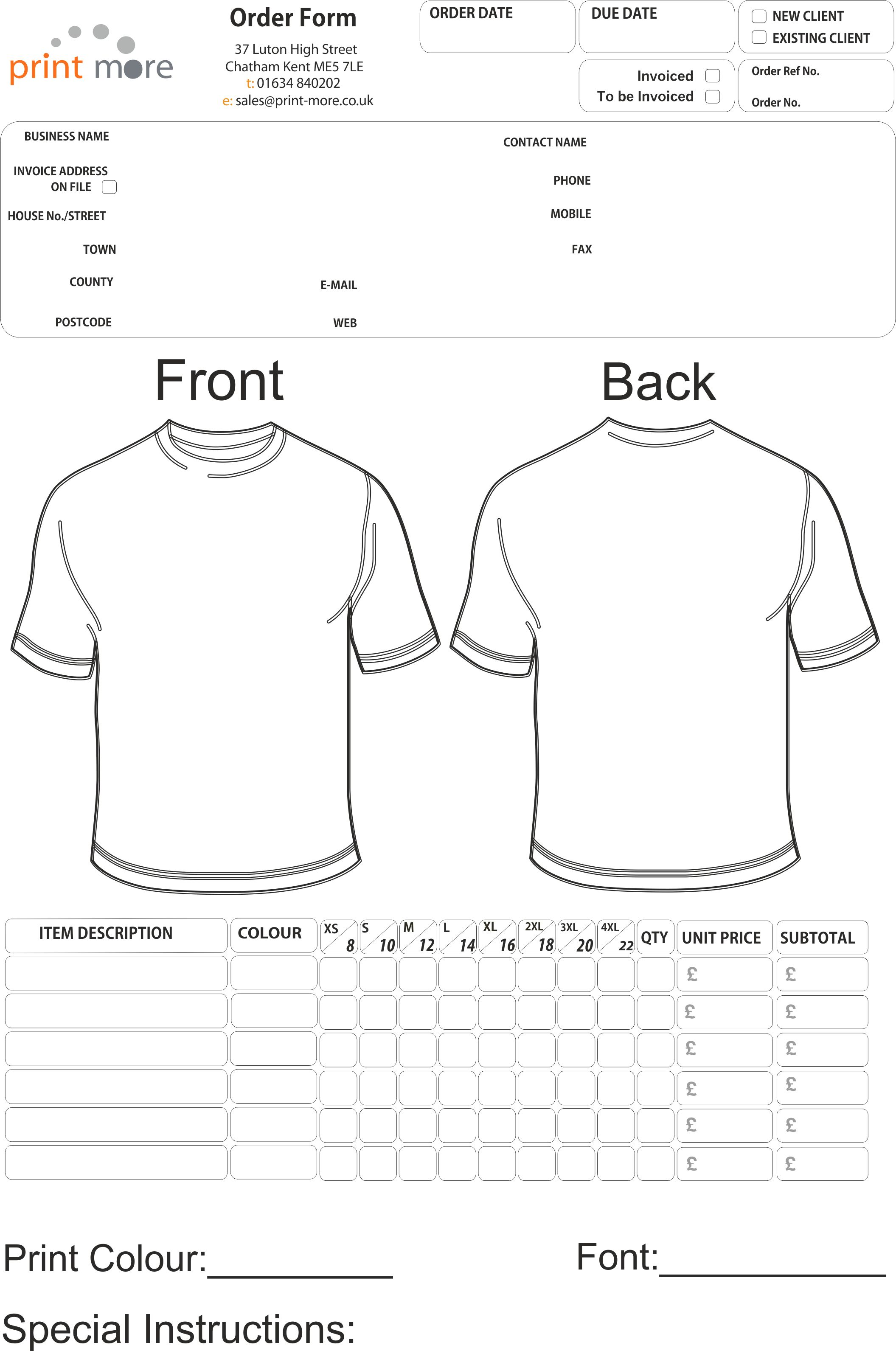 photo regarding Printable T Shirt Order Form identified as Crank out Your Personalized T Blouse Purchase Sort