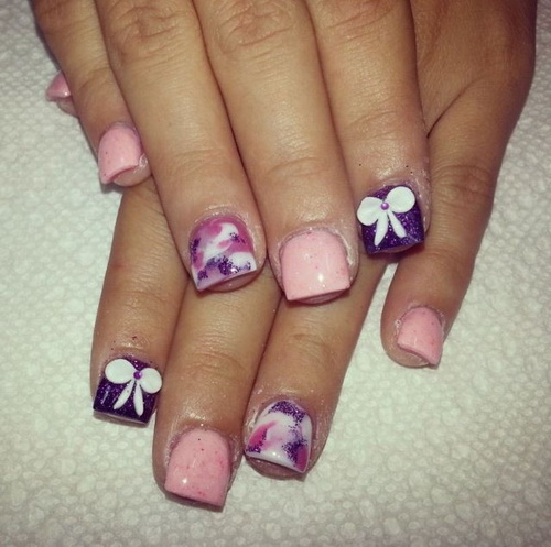 Short Acrylic Nails with Bows
