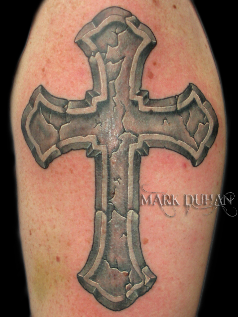 Stone Cross Tattoo