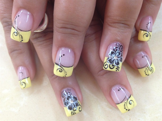 Acrylic Nail Design with Yellow