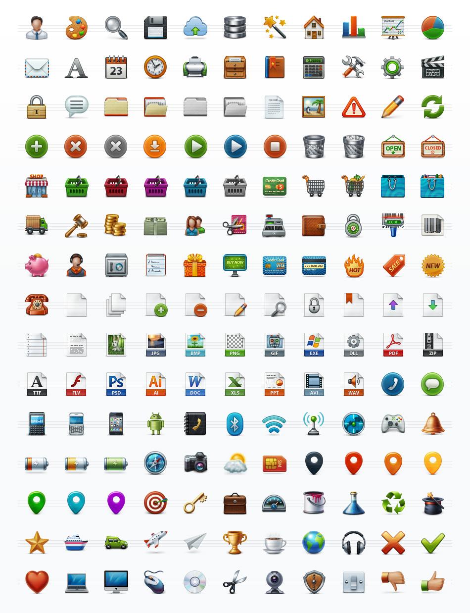 Application Toolbar Icon Set
