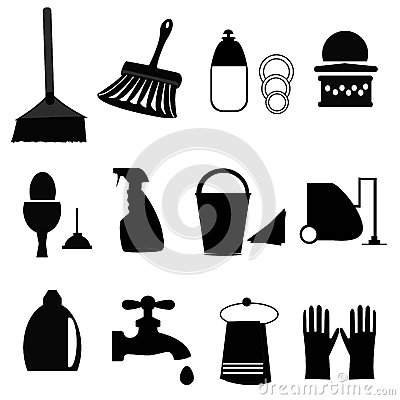 Black and White Cleaning Icon