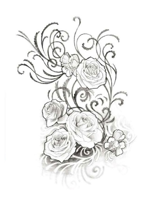 15 rose design black and white images white roses tattoo design black and white rose sketches. Black Bedroom Furniture Sets. Home Design Ideas