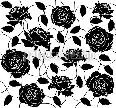Black and White Rose Pattern