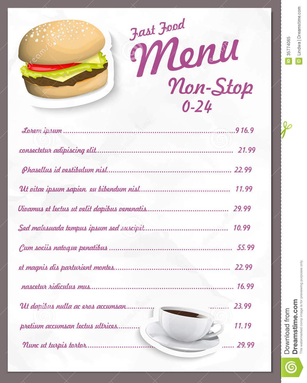 Fast Food Menus