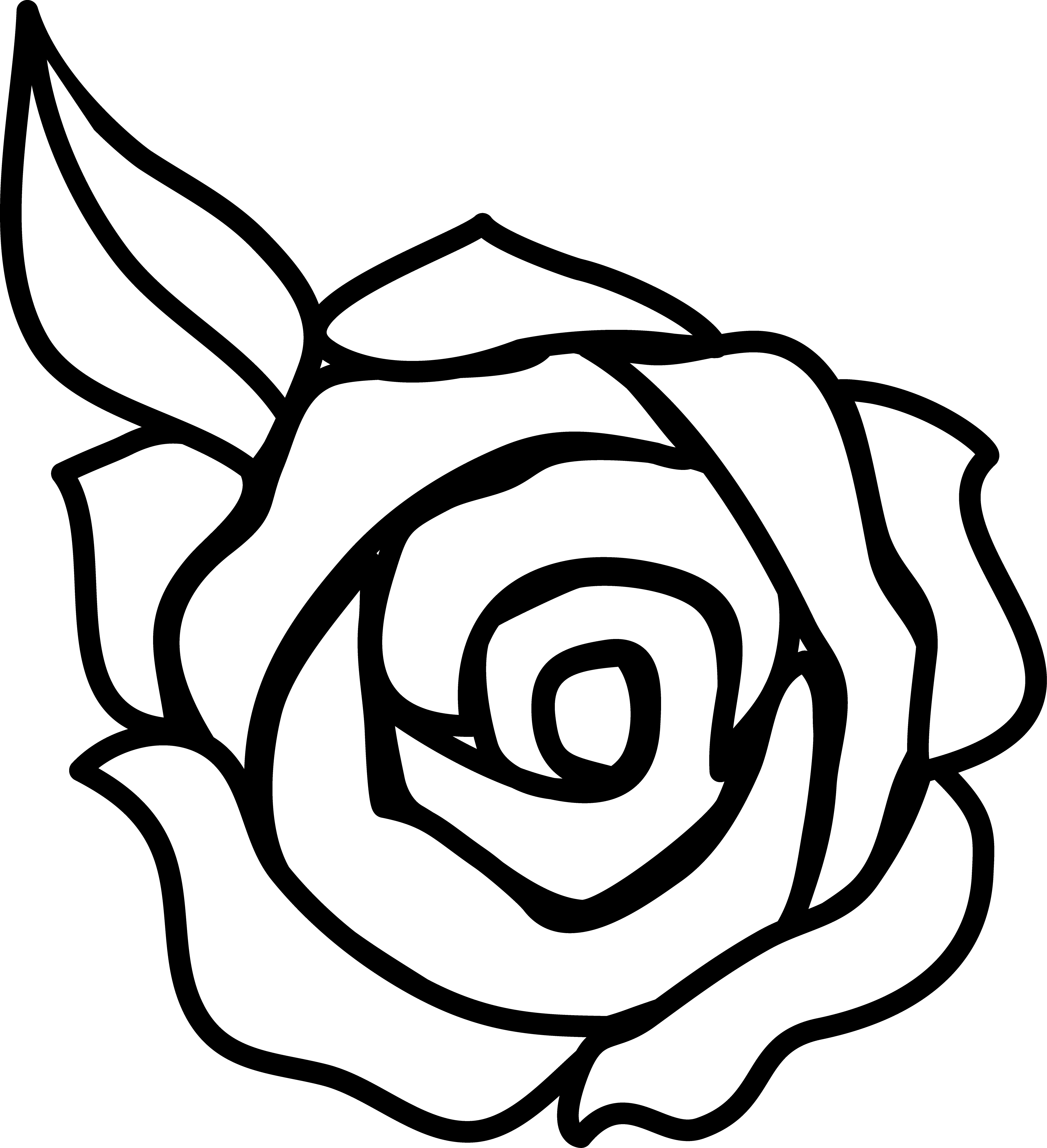 Free Clip Art Black and White Rose