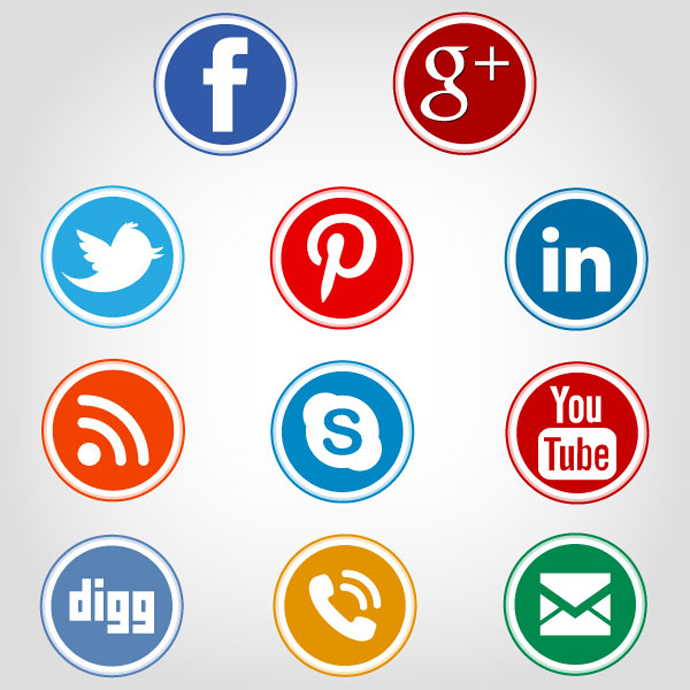 12 Social Media Icons Circle Vector Images