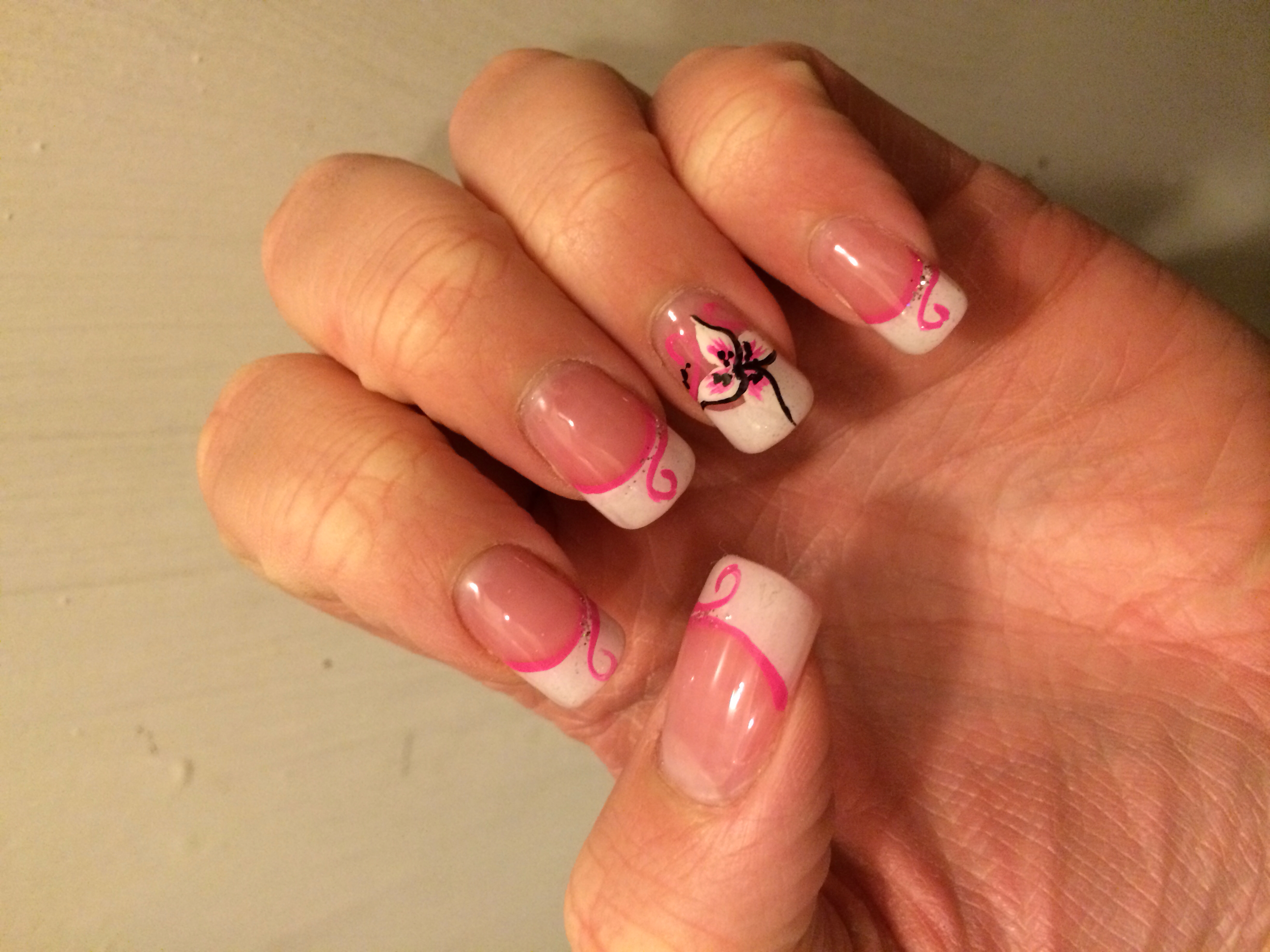 French Tip Nails with Flower Design