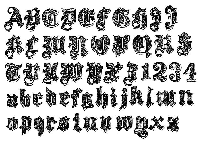 Gothic Medieval Font Alphabet