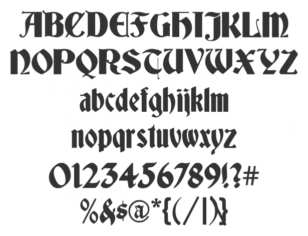 Gothic Numbers Font