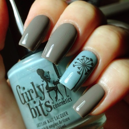 12 Grey And Blue Nail Designs Images