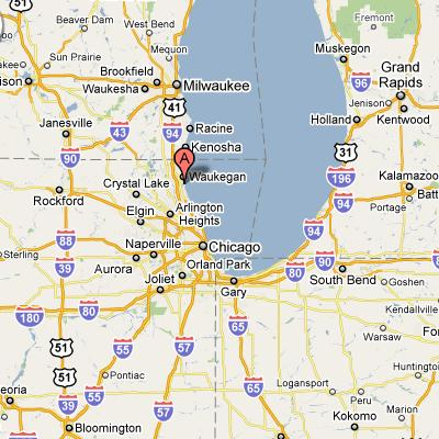 Great Lakes Naval Base in Illinois Map