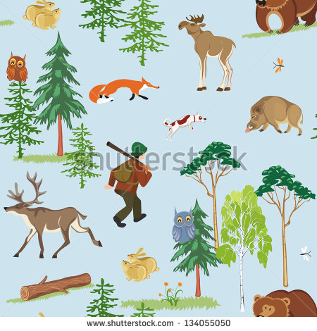 Hunting Wild Animals Vector