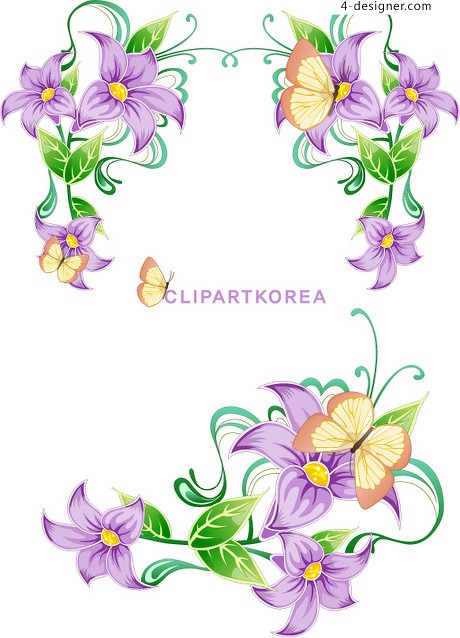 11 Purple Flower Border Vector Images