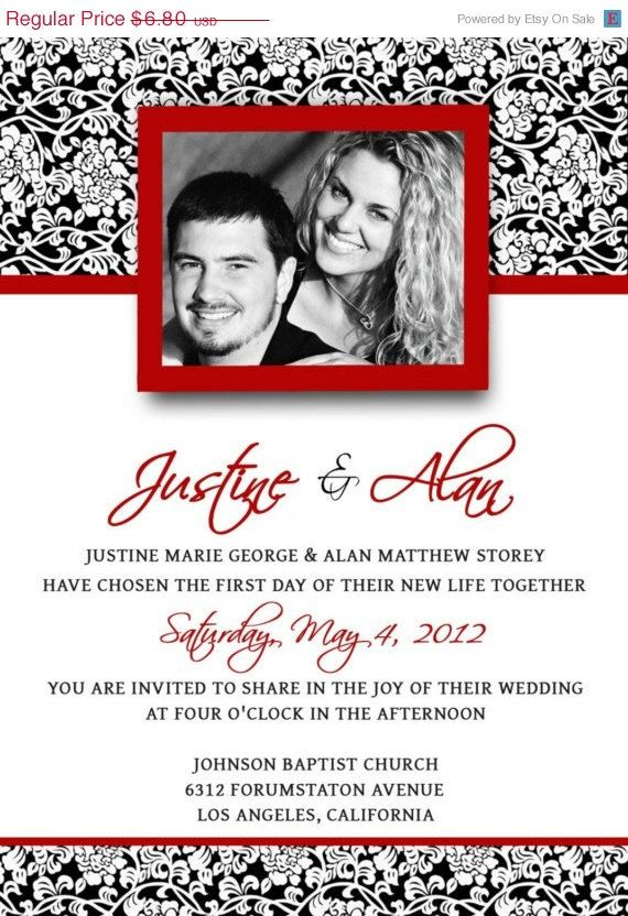 Red and White Wedding Invitation Templates