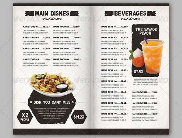 13 Food Menu PSD Images - Mexican Restaurant Menu Template ...