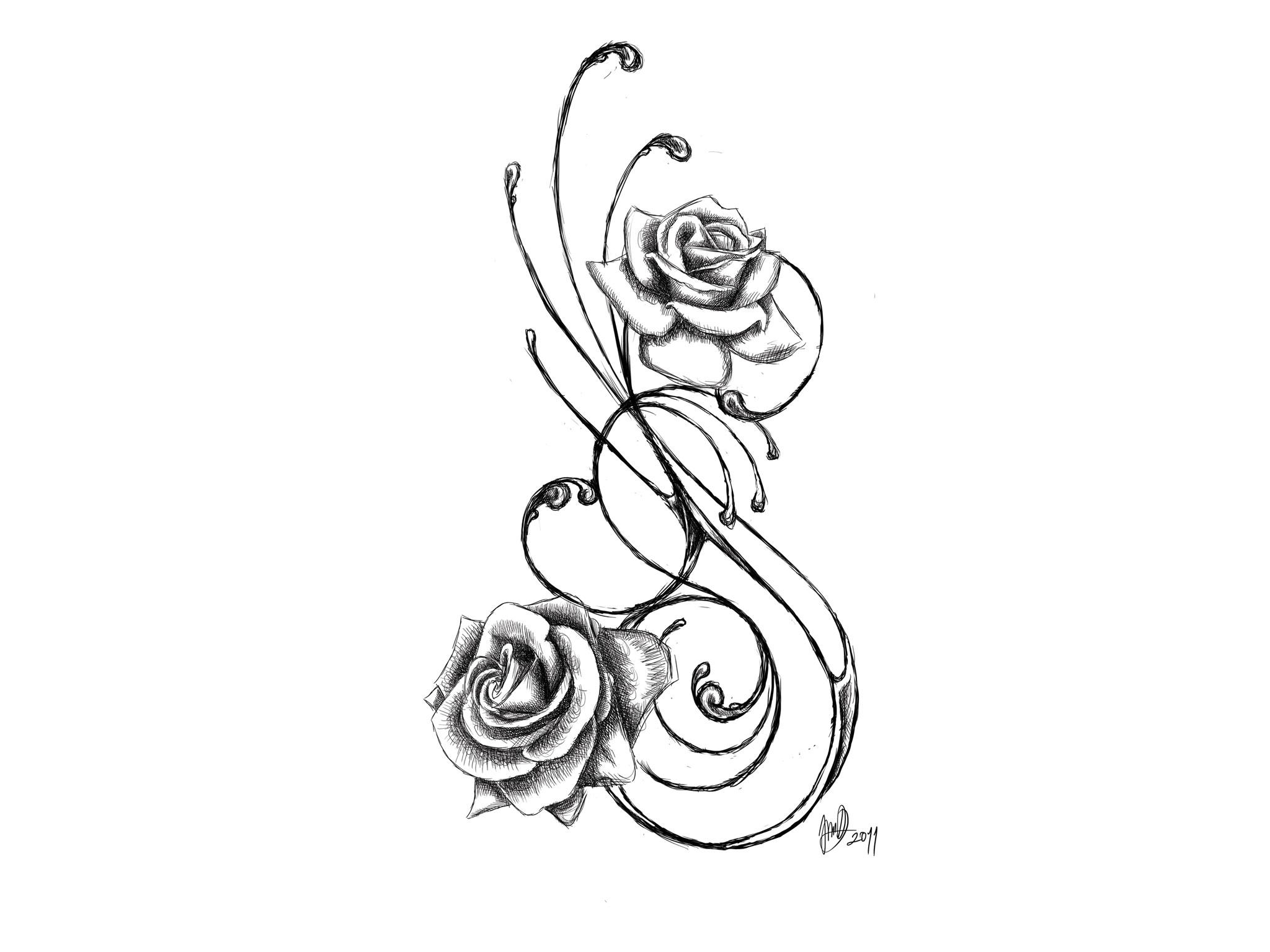 Two Roses Tattoo Designs