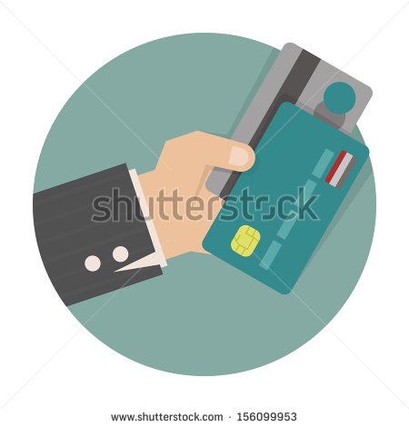 Vector Hand Holding Credit Cards