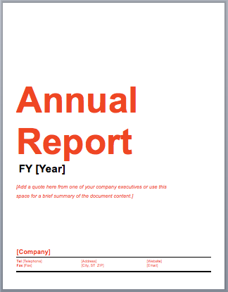 Annual Report Template Microsoft Word