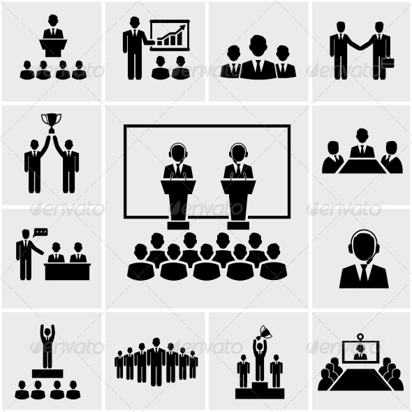 Conference Meeting Icon Vector