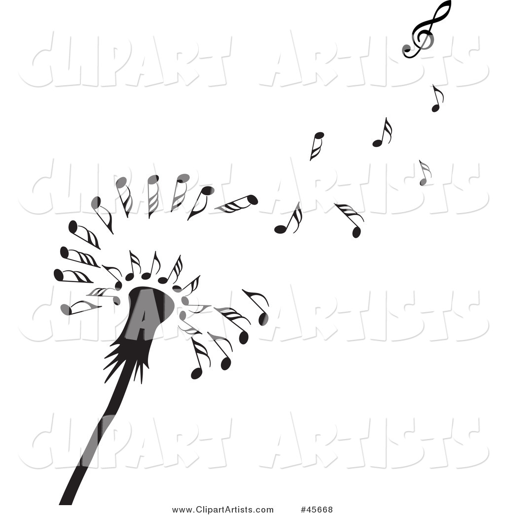 Dandelion Music Notes Vector