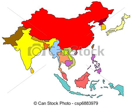 East and Southeast Asia Map Colored