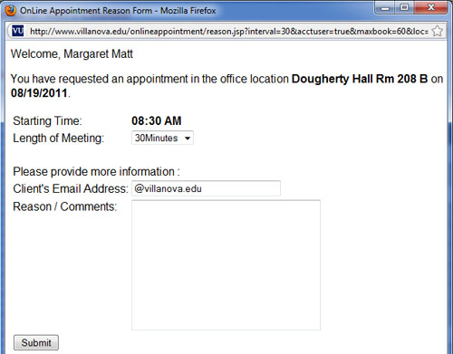 Email Confirming Appointment