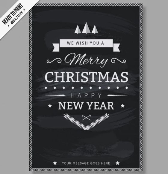 15 Black And White Christmas Card Templates Psd Images