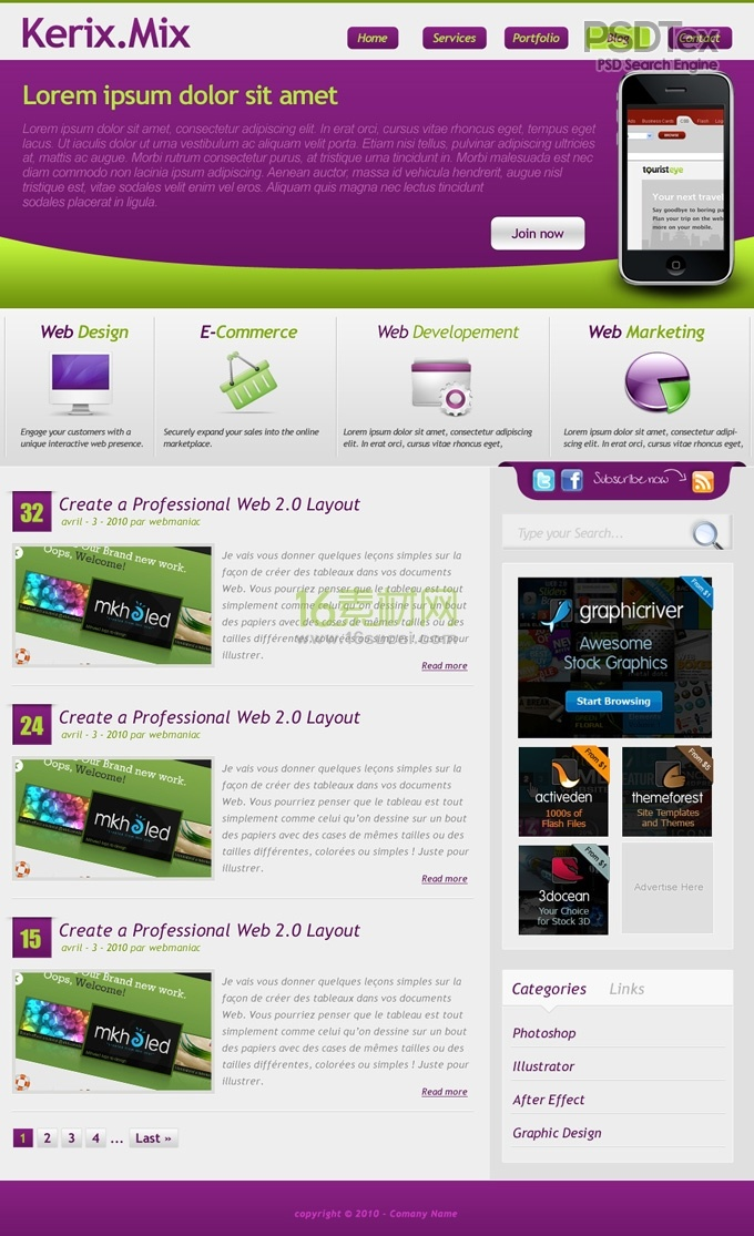 Free Simple Website Templates PSD