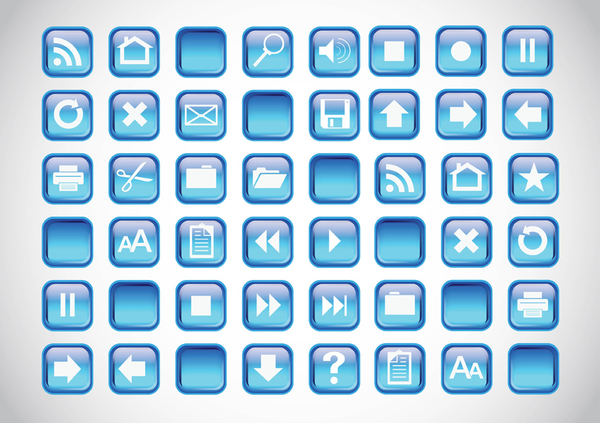 8 Blue Button Icon Images