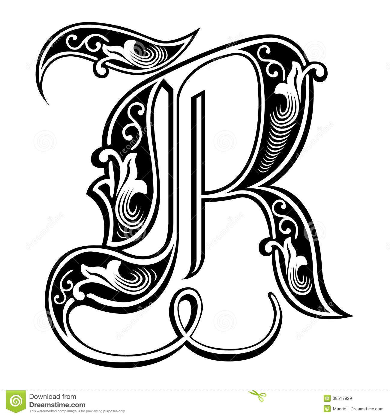 Gothic Style Font Letter R
