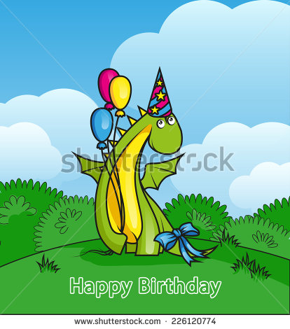 Happy Birthday Cute Cartoon Dinosaurs