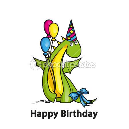 Happy Birthday Dragon Cartoon